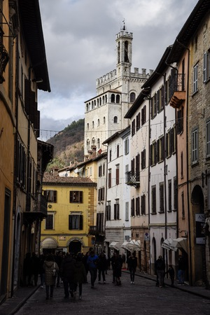 View of palace of the consuls in Gubbio (Umbria), Italy