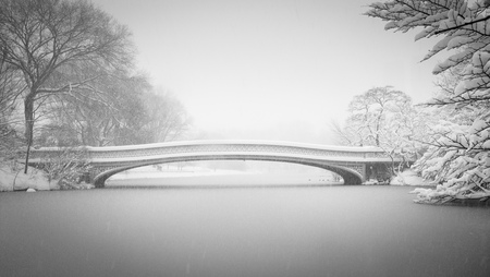 white winter: Bow Bridge and the Lake being covered in snow in winter  Black   White photography of Central Park, New York