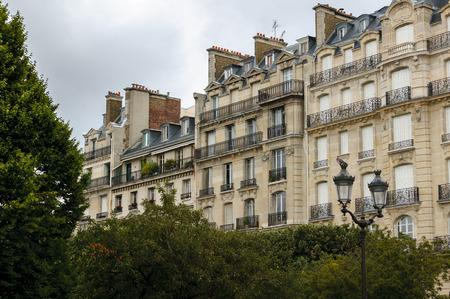 cite: Paris 19th century architecture. Haussmannian buildings in rue du Cloitre Notre Dame, a street at the back of Notre Dame and at the eastern tip of Ile de la Cite, Paris.