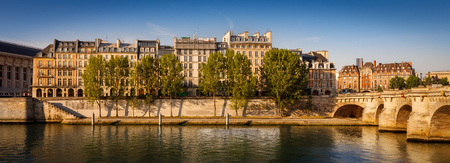 ile de la cite: Warm morning sun rays falling on Pont Neuf, the residential buildings on Ile de la Cite and the aspens lining the River Seine bank, Paris. Dawn in Frances capital city, the City of Lights. Stock Photo