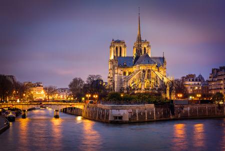 ile de la cite: The illuminated cathedral of Notre Dame on Ile de La Cite, in early evening, Paris, France.The Archbishop�s Bridge leads across the Seine from the Left Bank to the island. The cathedral is in the early French Gothic architectural style. The transept, apse