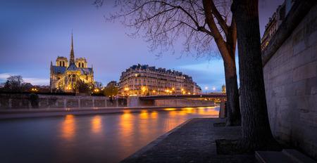 ile de la cite: Illuminated Notre Dame de Paris Cathedral at twilight on Ile de la Cite with reflection of city lights on the Seine River Paris France. Stock Photo