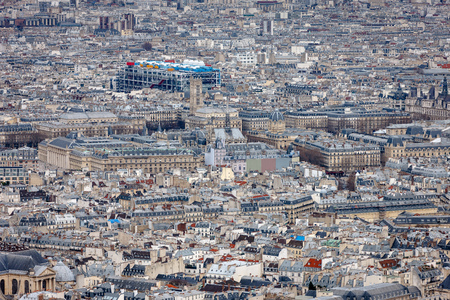 ile de la cite: Aerial view, rooftops of the 4th arrondissement in Paris including Ile de la Cite, Tour Saint Jacques and Centre Georges Pompidou Centre Beaubourg. France