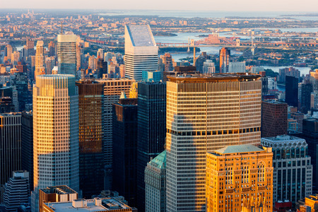 midtown manhattan: Aerial view of Midtown Manhattan skyscrapers at sunset. New York City skyline. Editorial