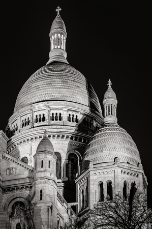 architectural  detail: Architectural detail in Black  White of the Basilica of the Sacred Heart Sacr Coeur Basilica illuminated at night. The Romano-Byzantine style basilica is located in Montmartre 18th arrondissement, Paris, France. Stock Photo