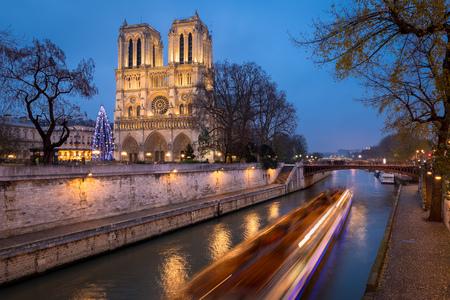 Kerstboom in de kathedraal van Notre Dame verlicht in de vroege avond op het Ile de la Cité met het passeren van tour boot op de rivier de Seine, Parijs, Frankrijk