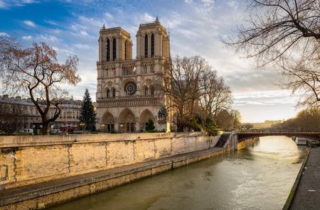 ile de la cite: Morning view of Notre Dame de Paris Cathedral on Ile de la Cite. The Seine River and the Cathedral are seen in soft winter light. Paris, 4th arrondissement, France. Stock Photo