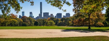 lawn: Panoramic afternoon view of Central Park Great Lawn with fall foliage and Manhattan Midtown skyscrapers in the distance. New York City