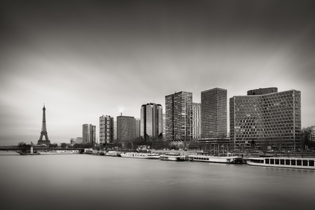 15th: Black & White skyline with high-rise Left Bank buildings in the 15th Arrondissement with the Eiffel Tower ,Seine River and Pont de Grenelle, Paris, France