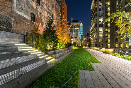 chelsea: High Line promenade in evening, Chelsea, Manhattan, New York City