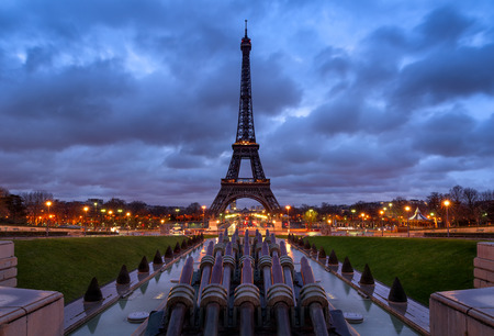 Eiffel Tower at Sunrise with clouds from Trocadero, Paris, France