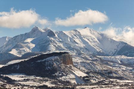 Chapeau de Napoleon just after snowfall with the Arche, Aiguille and Piolit peaks. Ecrin National Park, Hautes Alpes, France