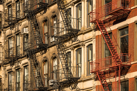 Soho building facades and fire escapes, New York City