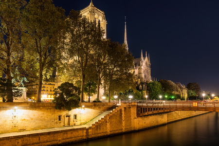 cite: Notre Dame Cathedral illuminated with Pont au Double, Paris, France