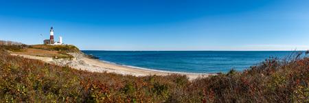 モントーク ポイント州立公園灯台や大西洋のパノラマの景色。ロングアイランド、ニューヨーク州