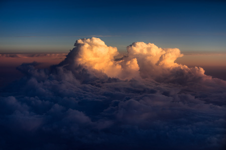 High altitude clouds at sunset over the Atlantic Ocean
