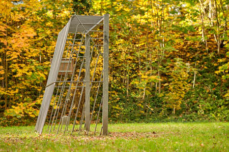 Iron football goal on a public football field with grass in front of beautiful yellow autumn trees in golden October in Germany