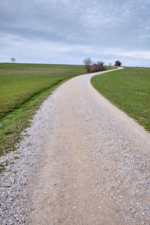 Countryside springtime landscapee with bare trees and a long and winding gravel road leading to the horizon Banque d'images