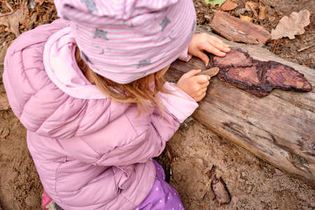 Cute child girl playing with wood on a playground in the forest wearing warm clothes in autumn. Seen in Germany, Bavaria in October.
