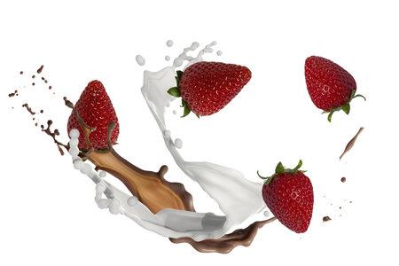 strawberries with milk and chocolate splash