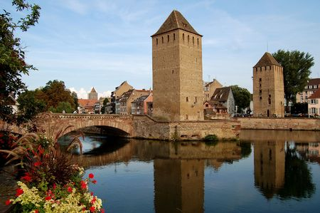 The district of La Petite France in Strasbourg with its bridges and towers photo