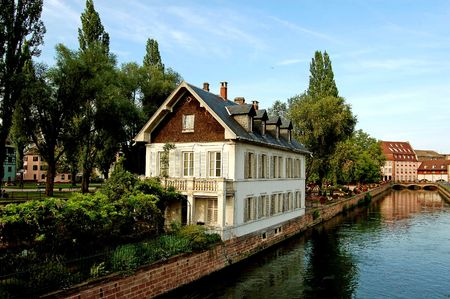 The district of La Petite France in Strasbourg with its bridges and its river photo