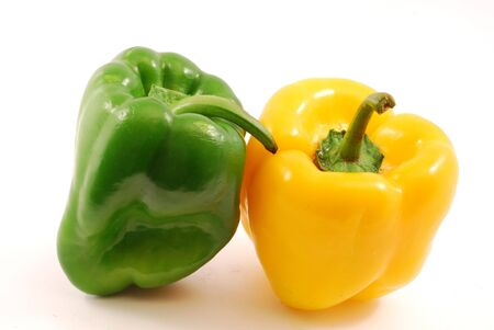 Yellow pepper and green pepper photo