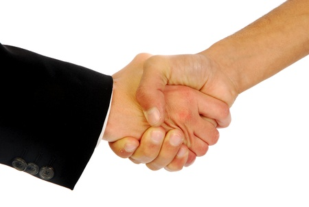 A warm greeting between two business people photo