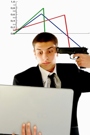 A businessman in despair before the collapse of share prices Stock Photo - 9645935