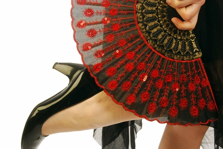 fan dance: A flamenco dancer with the typical Spanish clothing