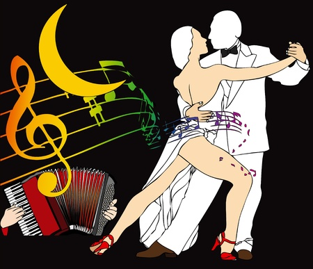 Scent of Tango: Two Tango Dancers dance under a crescent moon photo