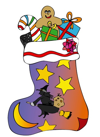 A stocking full of gifts brought by Epiphany