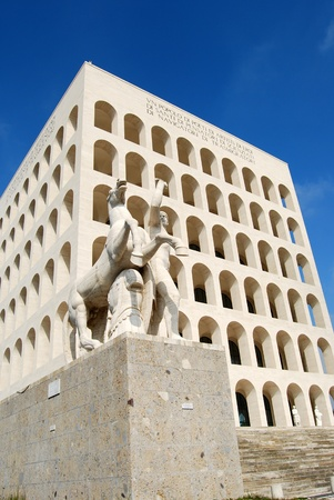 fascist: Rome EUR (Palace of Civilization 002) -Rome - Italy - Among fascist architecture and modern architecture