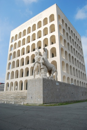 Rome EUR (Palace of Civilization 008) - Rome - Italy - Among fascist architecture and modern architecture Stock Photo - 12734716