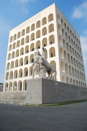 fascist: Rome EUR (Palace of Civilization 010) - Rome - Italy - Among fascist architecture and modern architecture