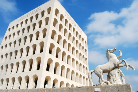 fascist: Rome EUR (Palace of Civilization 011) -Rome - Italy - Among fascist architecture and modern architecture Editorial