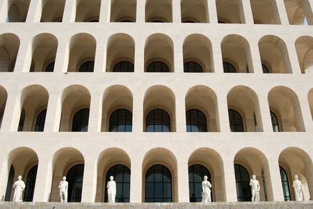 fascist: Rome EUR (Palace of Civilization 012) - Rome - Italy - Among fascist architecture and modern architecture Editorial