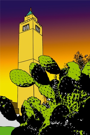 minaret: The blades of a cactus with a minaret at sunset Stock Photo