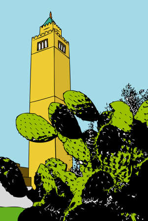 minaret: The blades of a cactus with a minaret in the background
