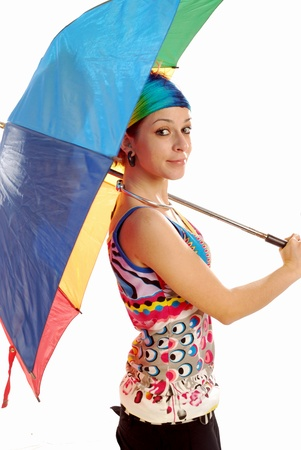 A girl plays with a colorful umbrella - 009 photo