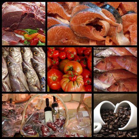 carnes y verduras: Alimentos para la venta en el supermercado Foto de archivo