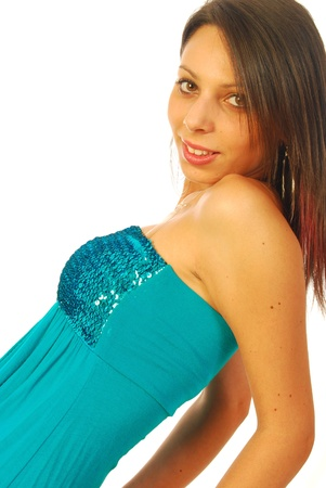 Beautiful brunette wearing an elegant evening dress 018 Stock Photo - 13587371