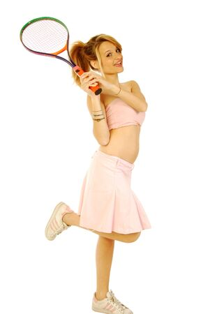 A young girl with her tennis racket 147 Stock Photo - 13587416