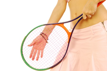 A young girl with her tennis racket 170 Stock Photo - 13610892