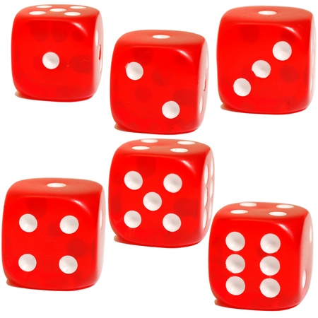 The faces of six colored dice Stock Photo