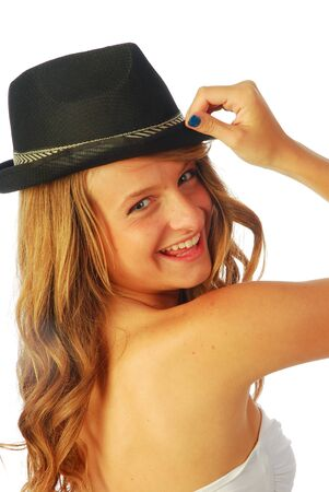 Woman with Hat - A young woman with hat male 123 photo