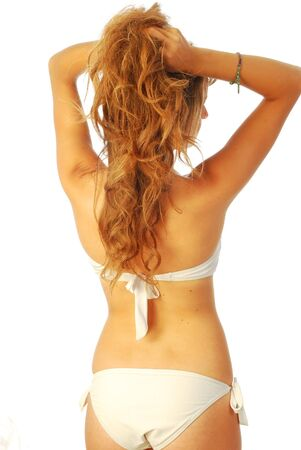 Woman in swimsuit - A young woman in white swimsuit Stock Photo - 14360469