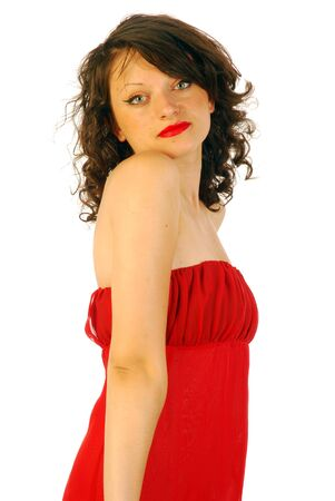 Woman in elegant red dress Stock Photo - 15200089