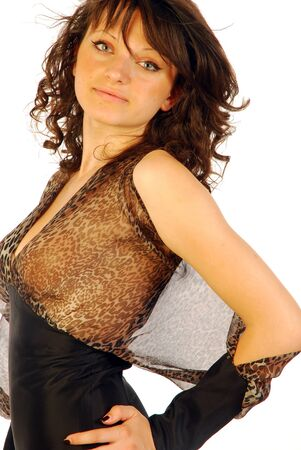 Woman in elegant black dress transparent Stock Photo - 14875735