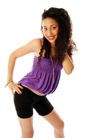 exuberant: Girl exuberant and dynamic 084 - A young and exuberant beautiful girl Stock Photo